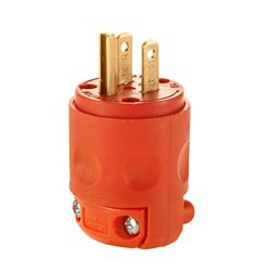 Leviton 15 Amp, 125 Volt, NEMA 5-15P, 2 Pole, 3 Wire, Plug, Straight Blade - Orange