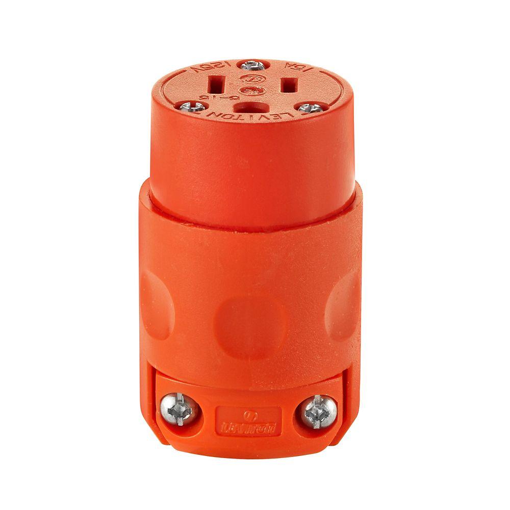 15 A, 125 V, NEMA 5-15R, bipolaire, Connecteur trifilaire, lame droite  Orange