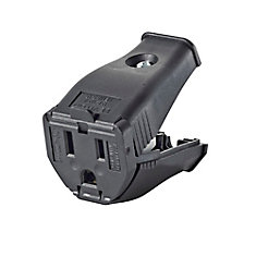 2-Pole, 3 Wire Grounding Outlet. Clamptite Hinged Design 15a-125v, nema 5-15p, Black Thermoplastic.