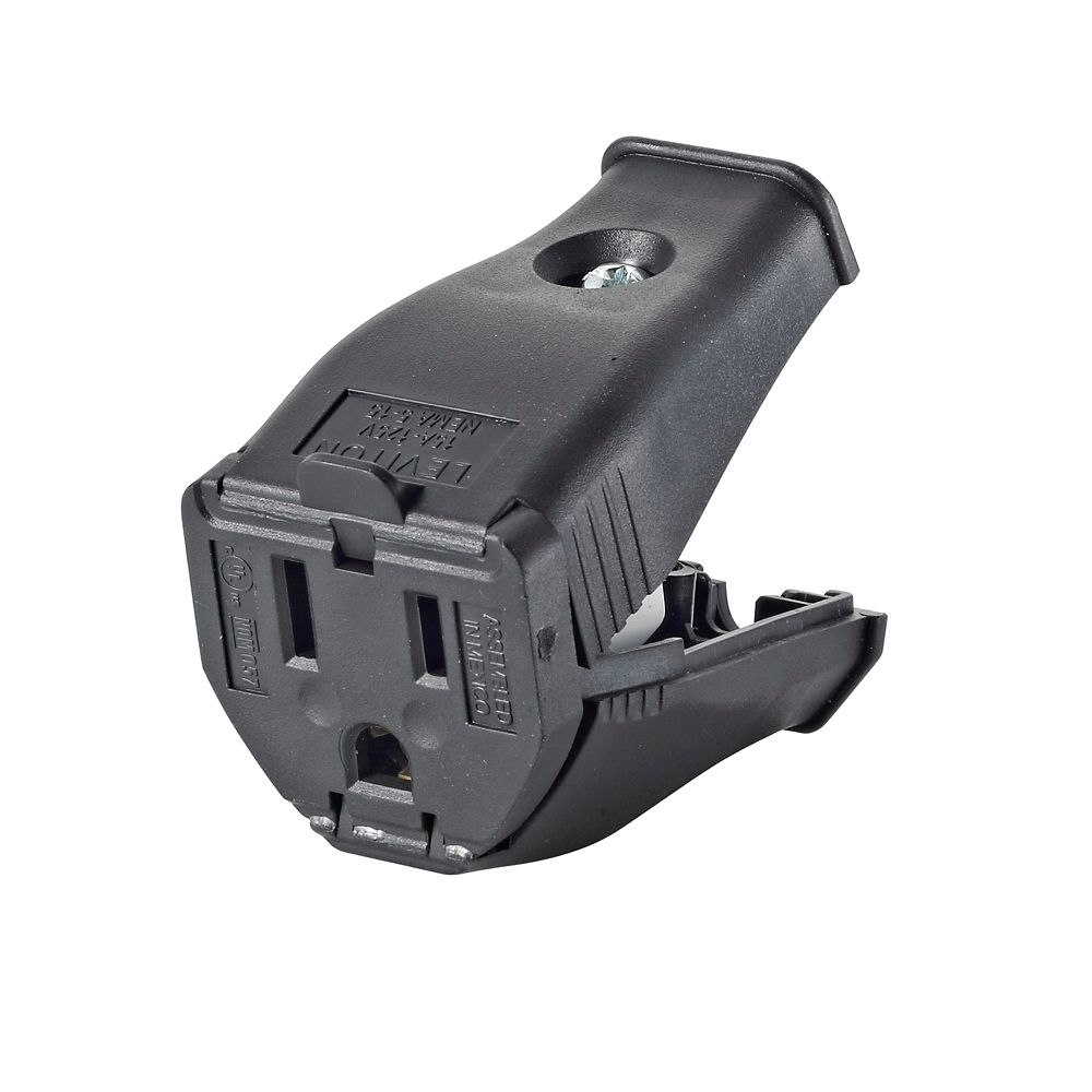 2-Pole, 3 Wire Grounding Outlet. Clamptite Hinged Design 15a-125v, nema 5-15p, Black Thermoplasti...