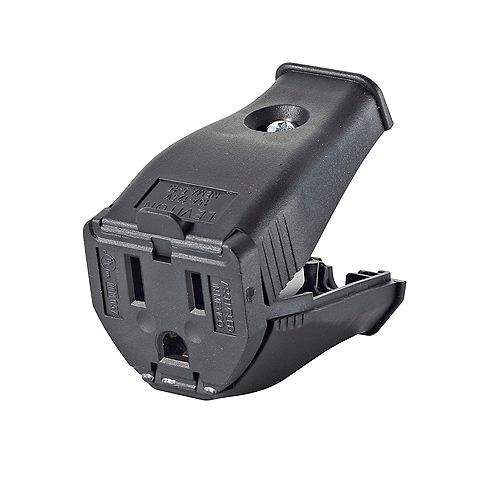 Leviton 2-Pole, 3 Wire Grounding Outlet. Clamptite Hinged Design 15a-125v, nema 5-15p, Black Thermoplastic.