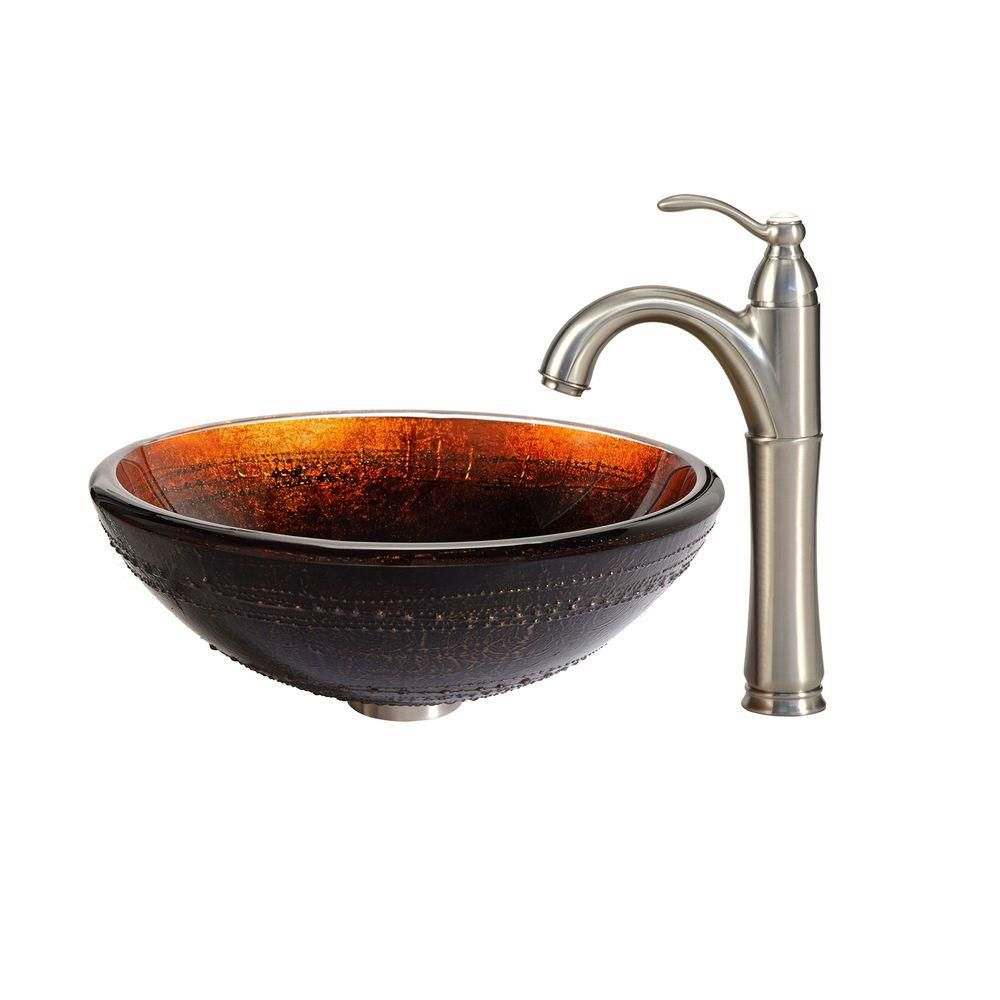 Prometheus Glass Vessel Sink with Riviera Faucet in Satin Nickel