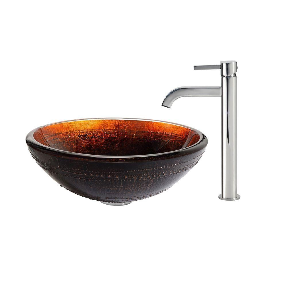 Prometheus Glass Vessel Sink with Ramus Faucet in Chrome