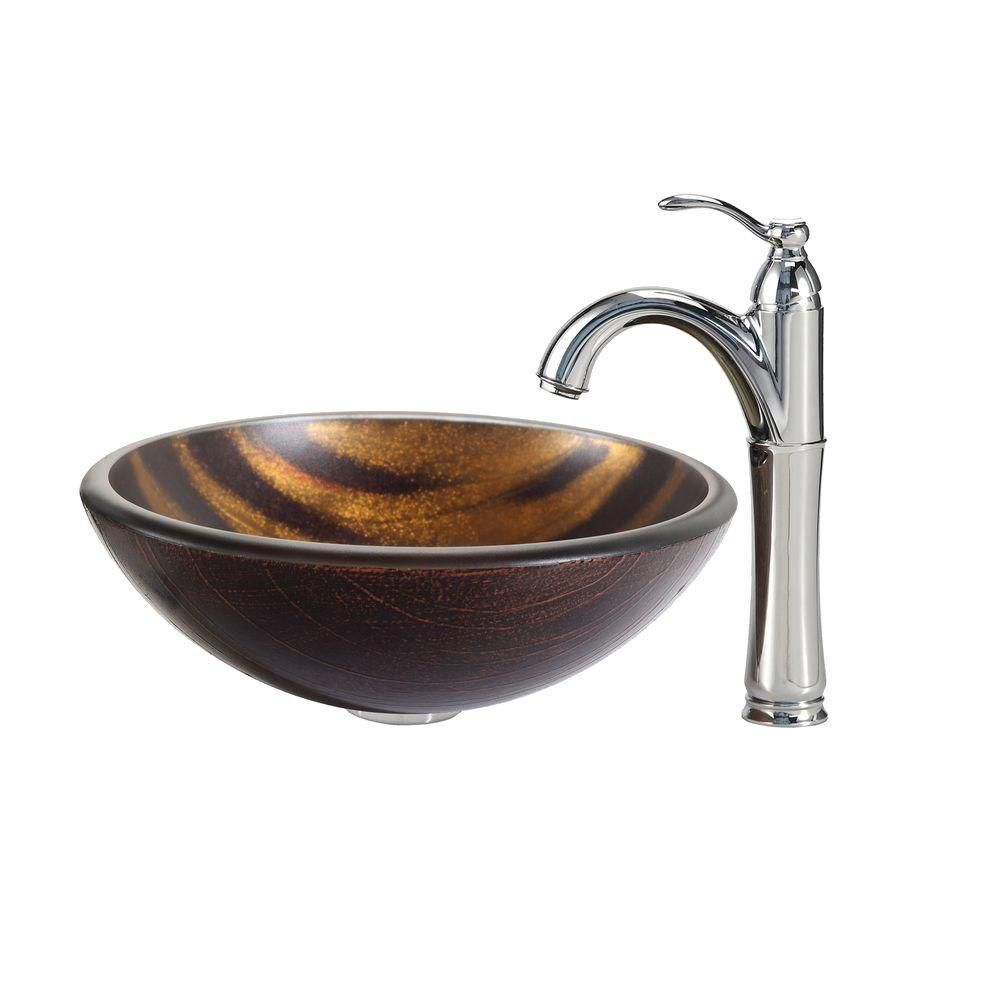 Bastet Glass Vessel Sink with Riviera Faucet in Chrome