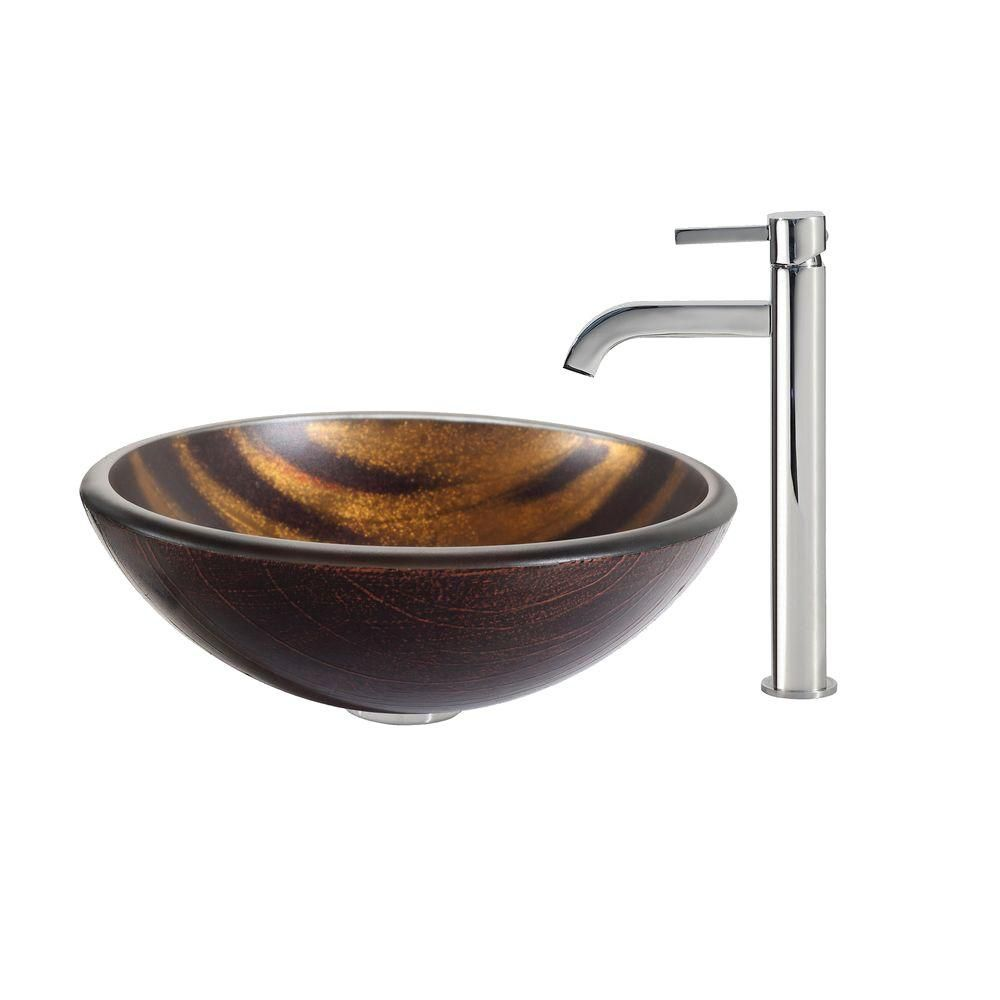 Bastet Glass Vessel Sink with Ramus Faucet in Chrome
