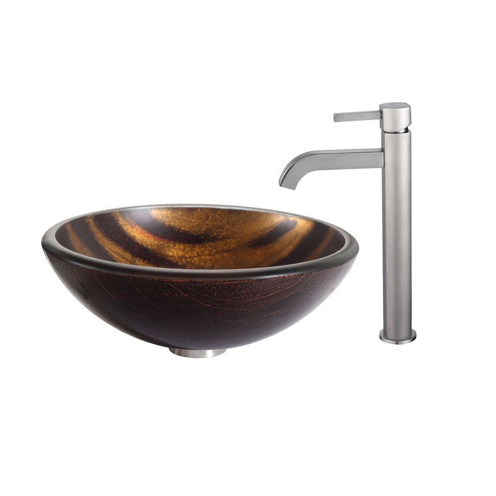 Lavabo-vasque en verre Bastet et robinet Ramus, nickel satiné