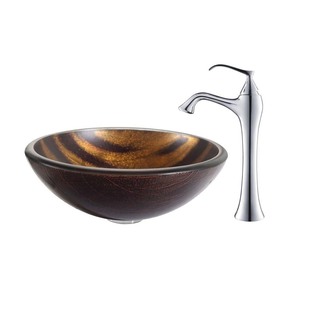 Bastet Glass Vessel Sink with Ventus Faucet in Chrome