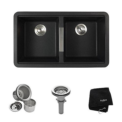 Évier de cuisine à deux cuves 50/50 encastré en granite de couleur noir onyx de 33 po (83,8 cm)