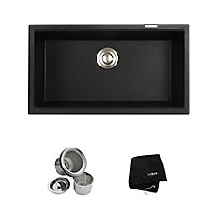 Undermount Granite Composite 32-inch Single Basin Kitchen Sink Kit in Black