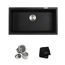 Kraus Undermount Granite Composite 32-inch Single Basin Kitchen Sink Kit in Black