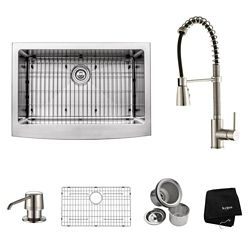 Kraus 30 Inch Farmhouse Single Bowl Stainless Steel Kitchen Sink with Stainless Steel Finish Kitchen Faucet and Soap Dispenser