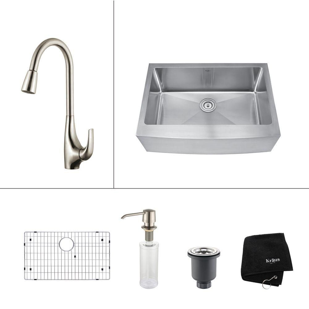 30 Inch Farmhouse Single Bowl Stainless Steel Kitchen Sink with Stainless Steel Finish Kitchen Fa...