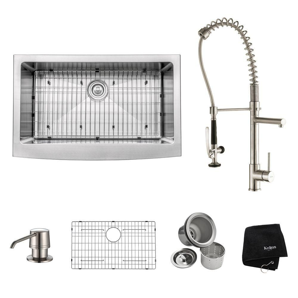 33 Inch Farmhouse Single Bowl Stainless Steel Kitchen Sink with Stainless Steel Finish Kitchen Fa...