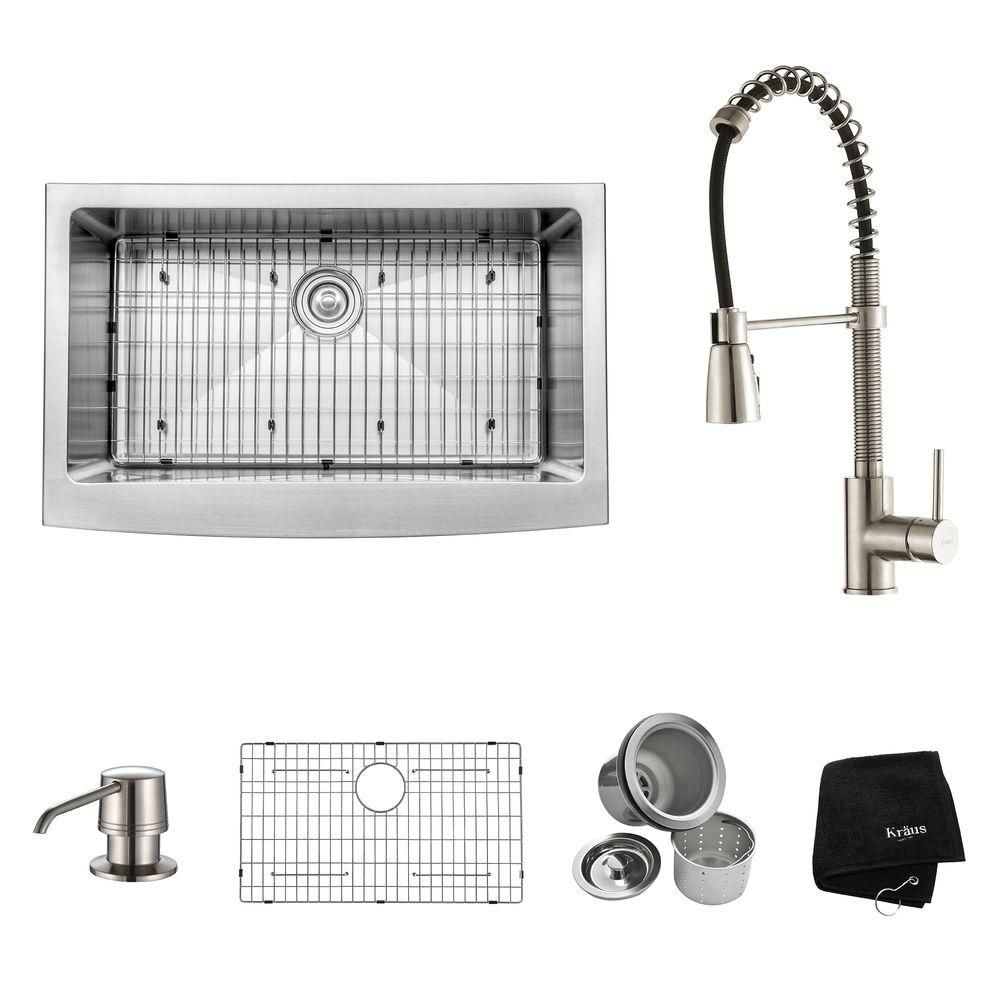 33 Inch Farmhouse Single Bowl Stainless Steel Kitchen Sink with Stainless Steel Finish Kitchen Faucet and Soap Dispenser