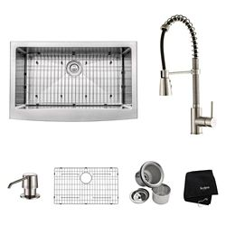 Kraus 33 Inch Farmhouse Single Bowl Stainless Steel Kitchen Sink with Stainless Steel Finish Kitchen Faucet and Soap Dispenser