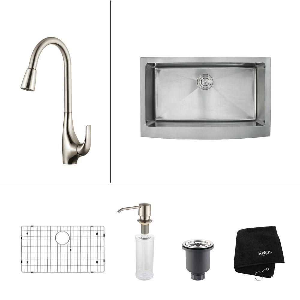 33 Inch Farmhouse Single Bowl Stainless Steel Kitchen Sink with Stainless Steel Finish Kitchen Faucet and Soap Dispenser KHF200-33-1621-30SS in Canada