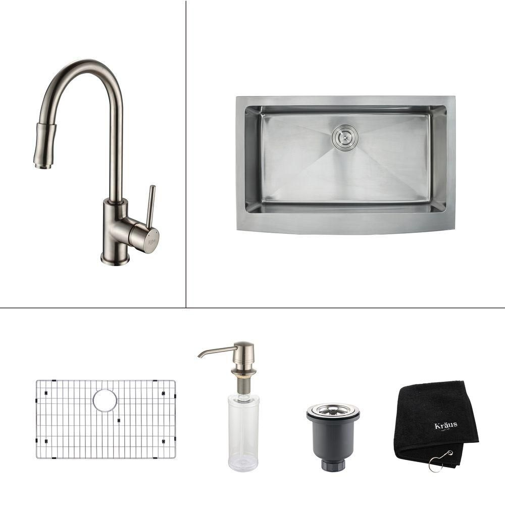 33 Inch Farmhouse Single Bowl Stainless Steel Kitchen Sink with Satin Nickel Kitchen Faucet and S...