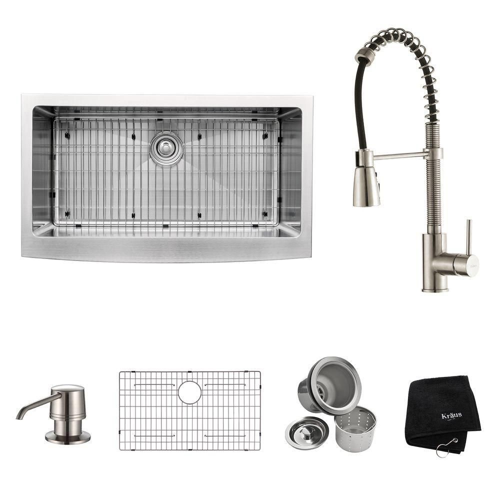 36 Inch Farmhouse Single Bowl Stainless Steel Kitchen Sink with Stainless Steel Finish Kitchen Fa...