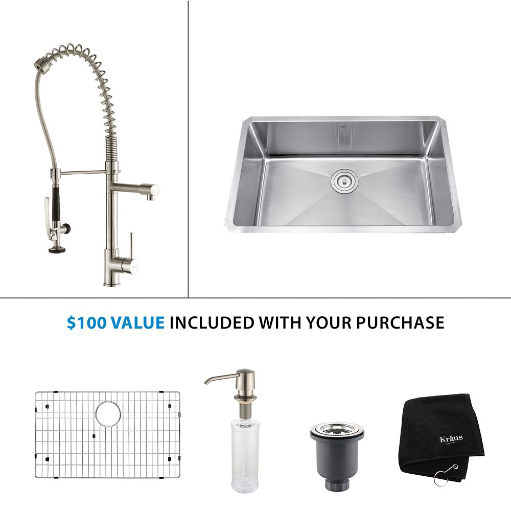 30 Inch Undermount Single Bowl Stainless Steel Kitchen Sink with Stainless Steel Finish Kitchen Faucet and Soap Dispenser