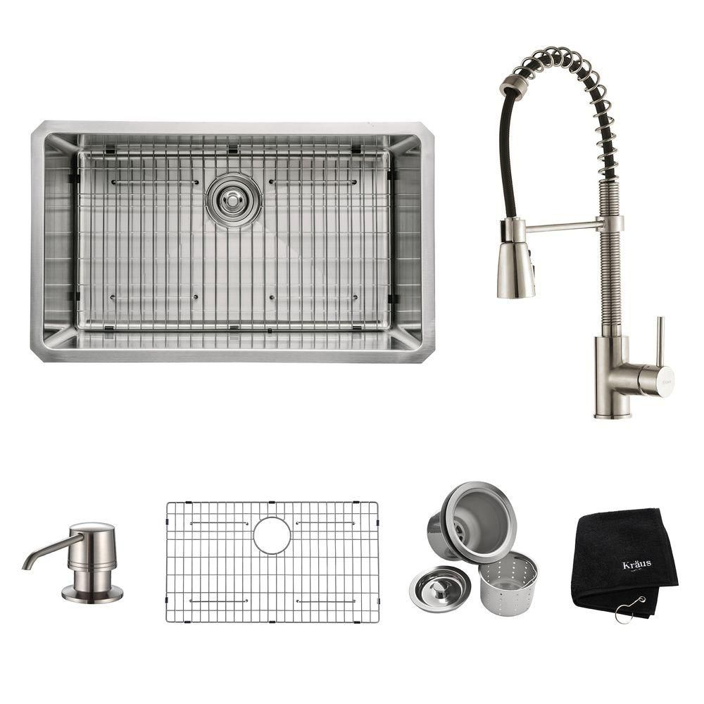 30 Inch Undermount Single Bowl Stainless Steel Kitchen Sink with Stainless Steel Finish Kitchen F...