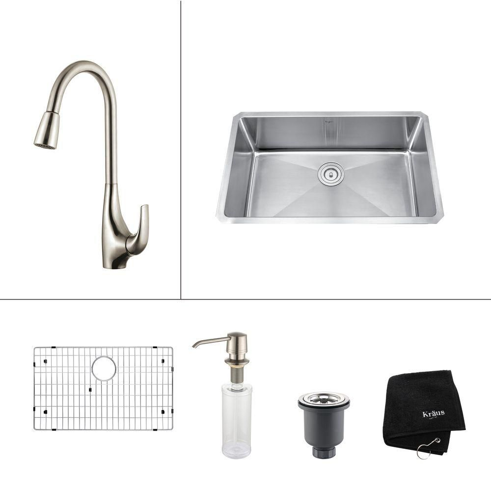 30 Inch Undermount Single Bowl Stainless Steel Kitchen Sink with Stainless Steel Finish Kitchen Faucet and Soap Dispenser KHU100-30-1621-30SS Canada Discount