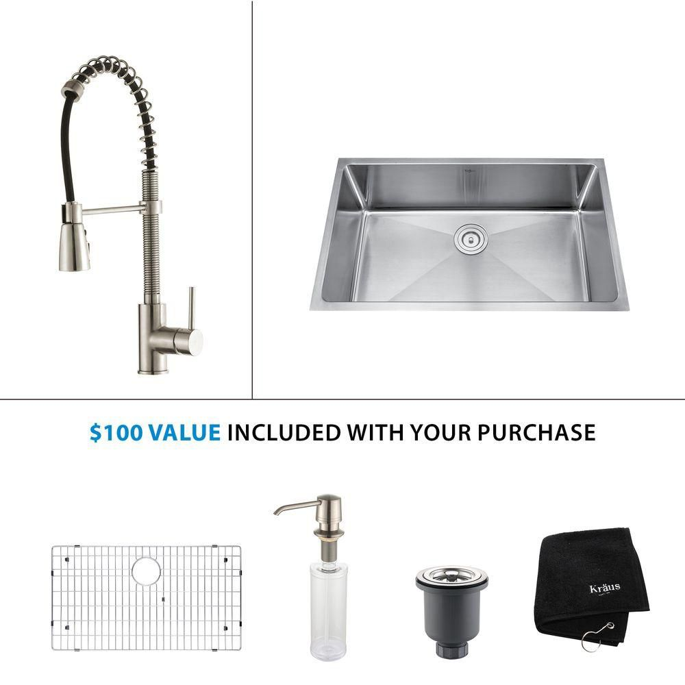 32 Inch Undermount Single Bowl Stainless Steel Kitchen Sink with Stainless Steel Finish Kitchen Faucet and Soap Dispenser