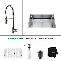 Kraus 32 Inch Undermount Single Bowl Stainless Steel Kitchen Sink with Stainless Steel Finish Kitchen Faucet and Soap Dispenser