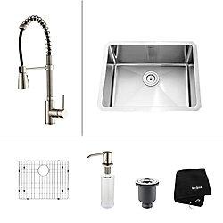 Kraus Évier de cuisine en acier inoxydable à une cuve Encastré de 23 pouces de avec robinet de cuisine et distributeur de savon en acier inoxydable