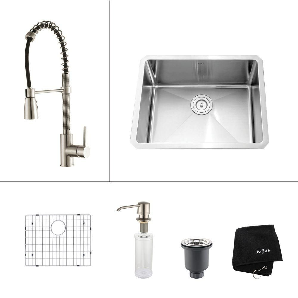 Kraus 23 Inch Undermount Single Bowl 16 Gauge SS Kitchen Sink w/Commercial Faucet & Soap Dispenser in SS