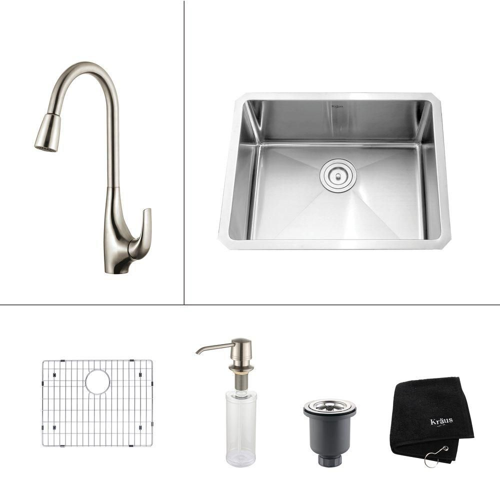 23 Inch Undermount Single Bowl 16 Gauge SS Kitchen Sink w/Pull Down Faucet & Soap Dispenser in SS