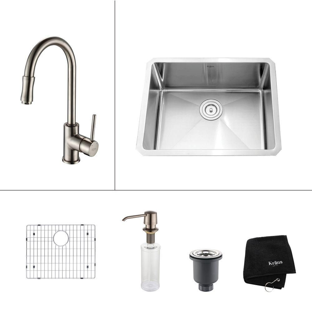 23 Inch Undermount Single Bowl Stainless Steel Kitchen Sink with Satin Nickel Kitchen Faucet and Soap Dispenser