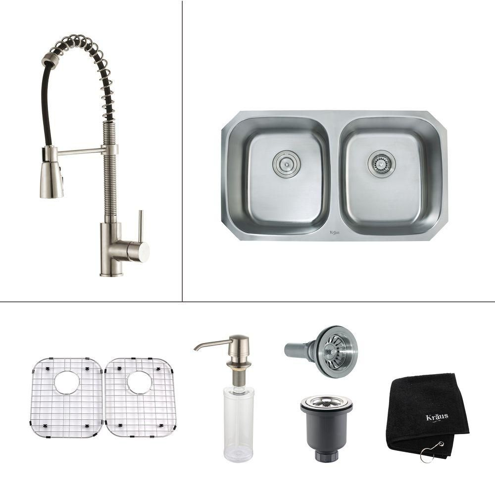 32 in. 50/50 Double Bowl Kitchen Sink with Kitchen Faucet and Soap Dispenser in Stainless Steel