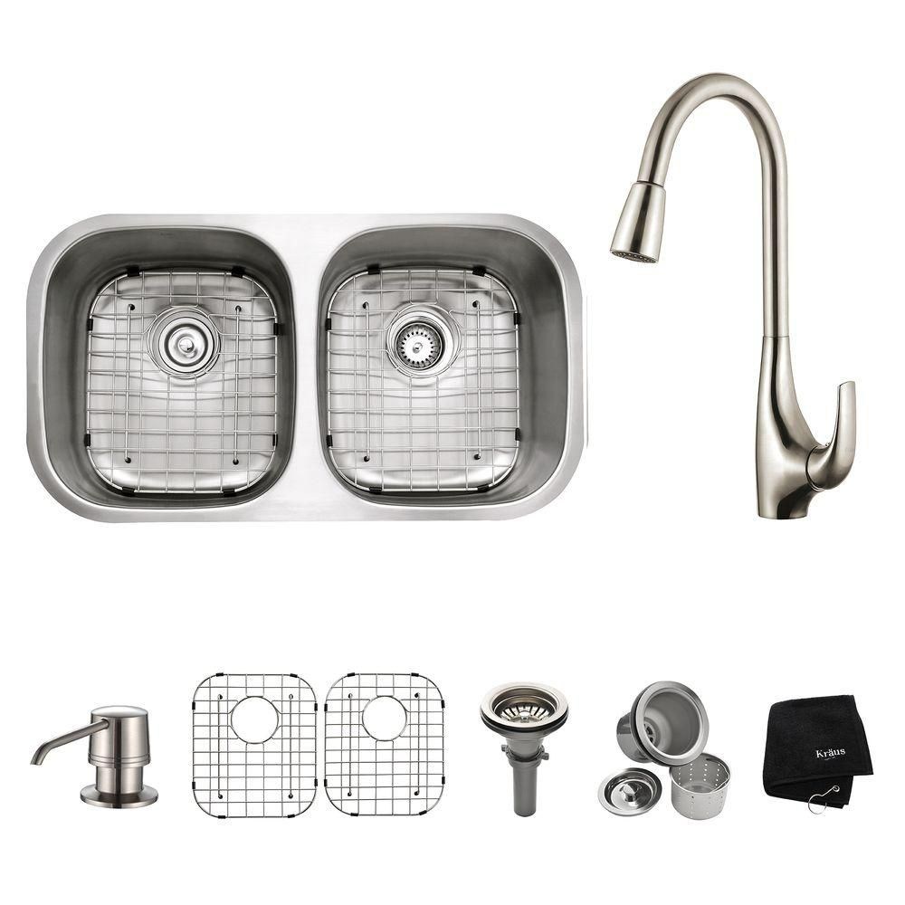 32 in. 50/50 Double Bowl Kitchen Sink with Soap Dispenser and Kitchen Faucet in Stainless Steel