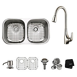 Kraus 32 in. 50/50 Double Bowl Kitchen Sink with Soap Dispenser and Kitchen Faucet in Stainless Steel