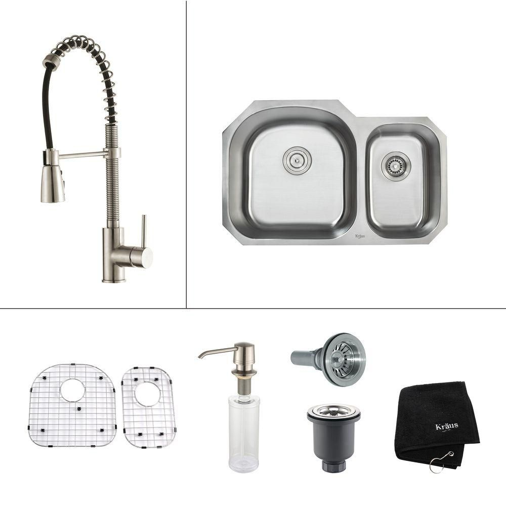 Kraus 32 in.Double Bowl Kitchen Sink with Stainless Steel Kitchen Faucet and Soap Dispenser