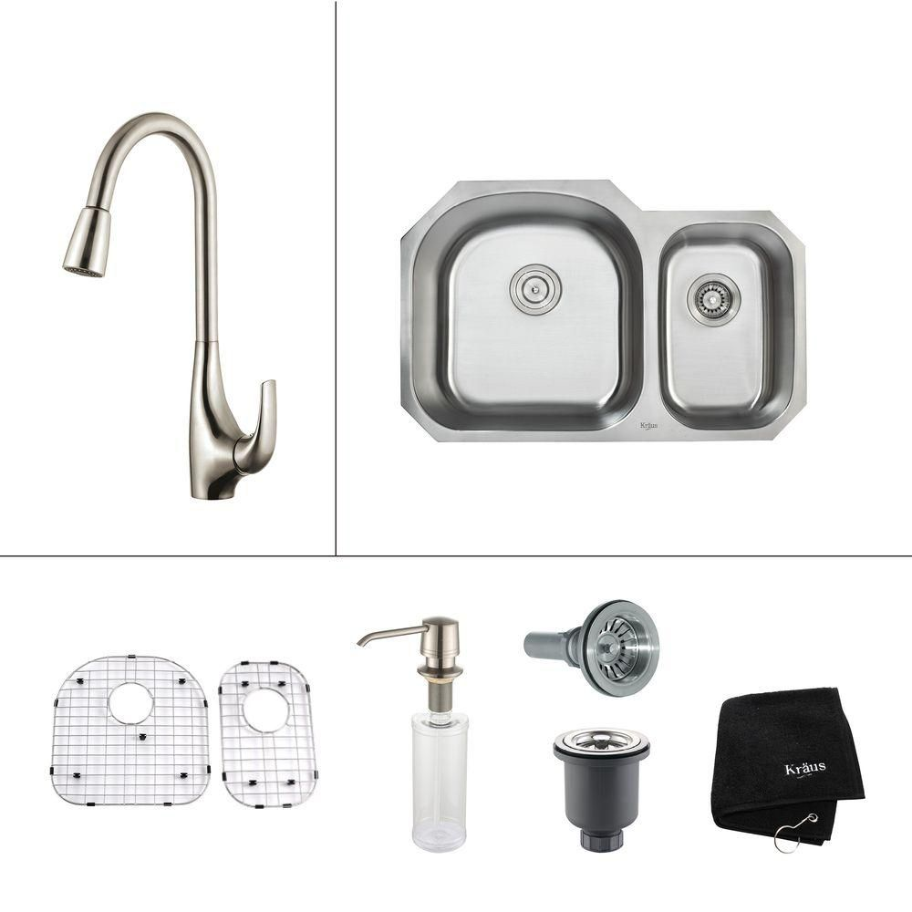 32 Inch Undermount Double Bowl Stainless Steel Kitchen Sink with Stainless Steel Finish Kitchen Faucet and Soap Dispenser KBU23-KPF1621-KSD30SS in Canada