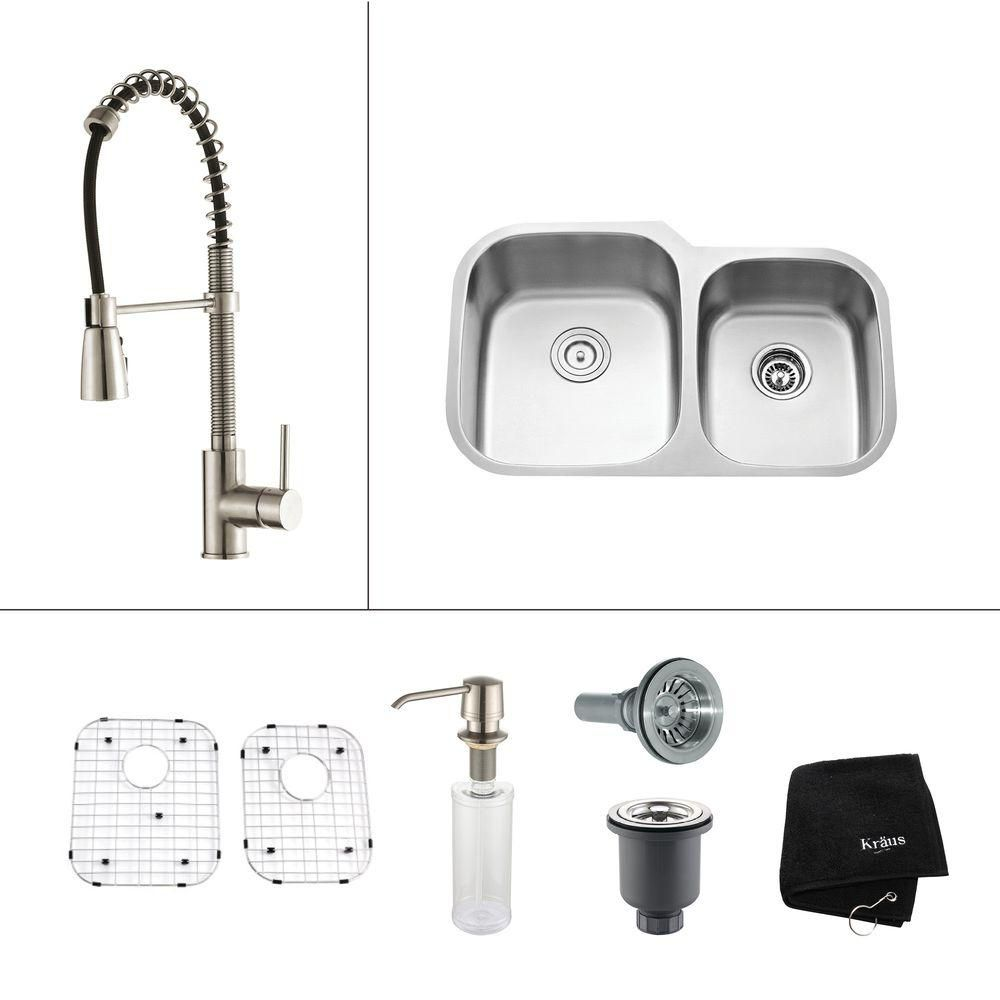 32 Inch Undermount Double Bowl Stainless Steel Kitchen Sink with Stainless Steel Finish Kitchen Faucet and Soap Dispenser KBU24-KPF1612-KSD30SS Canada Discount