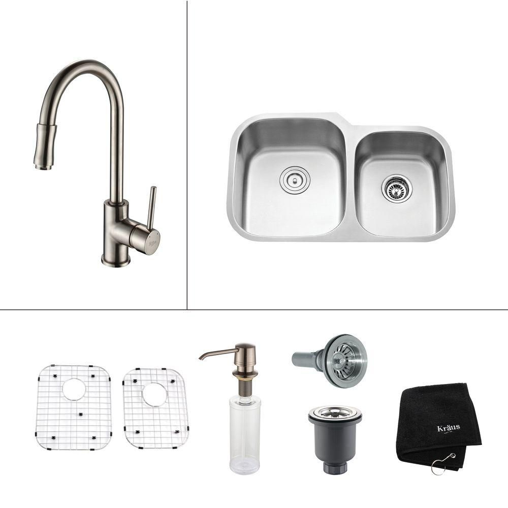 32 Inch Undermount Double Bowl Stainless Steel Kitchen Sink with Satin Nickel Kitchen Faucet and ...