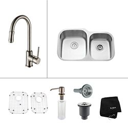 Kraus Stainless Steel 32 in. Double Bowl Kitchen Sink with Satin Nickel Soap Dispenser and Kitchen Faucet