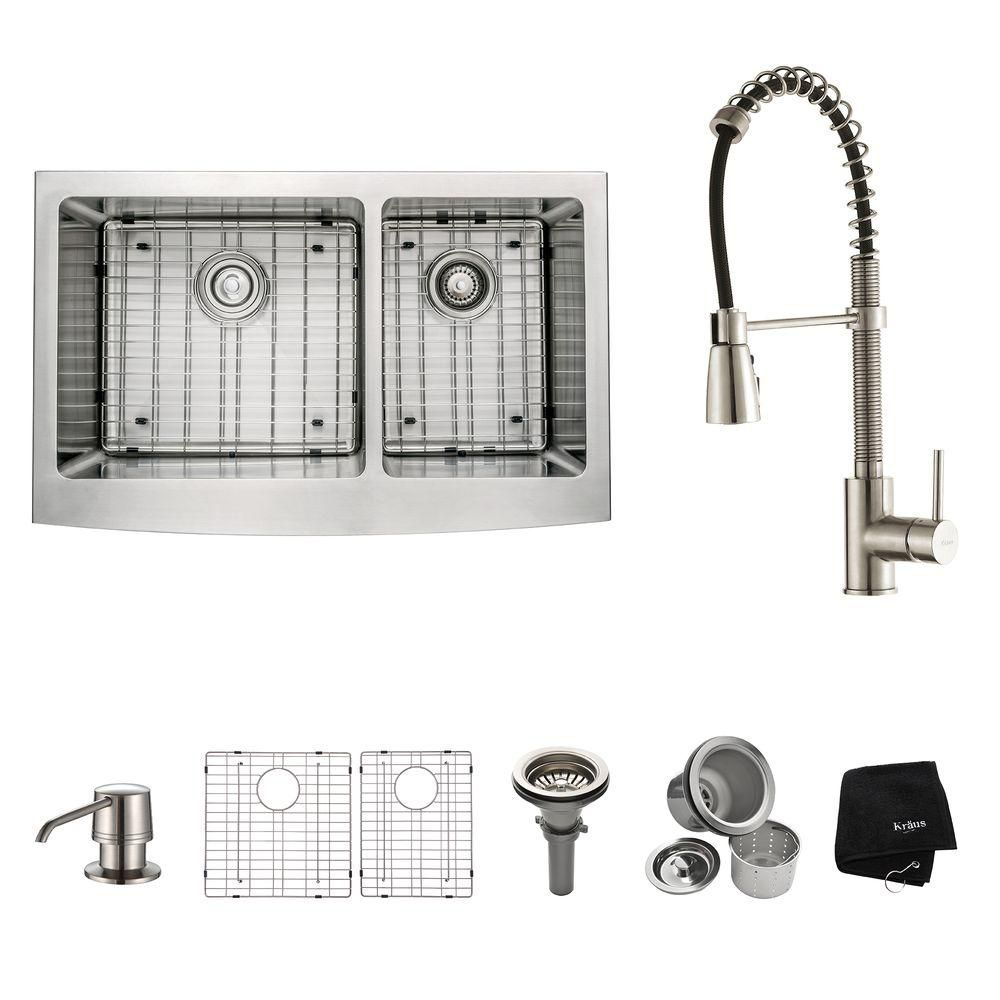 33 Inch Farmhouse Double Bowl Stainless Steel Kitchen Sink with Stainless Steel Finish Kitchen Faucet and Soap Dispenser KHF203-33-1612-30SS in Canada
