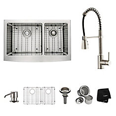 33 Inch Farmhouse Double Bowl Stainless Steel Kitchen Sink with Stainless Steel Finish Kitchen Faucet and Soap Dispenser