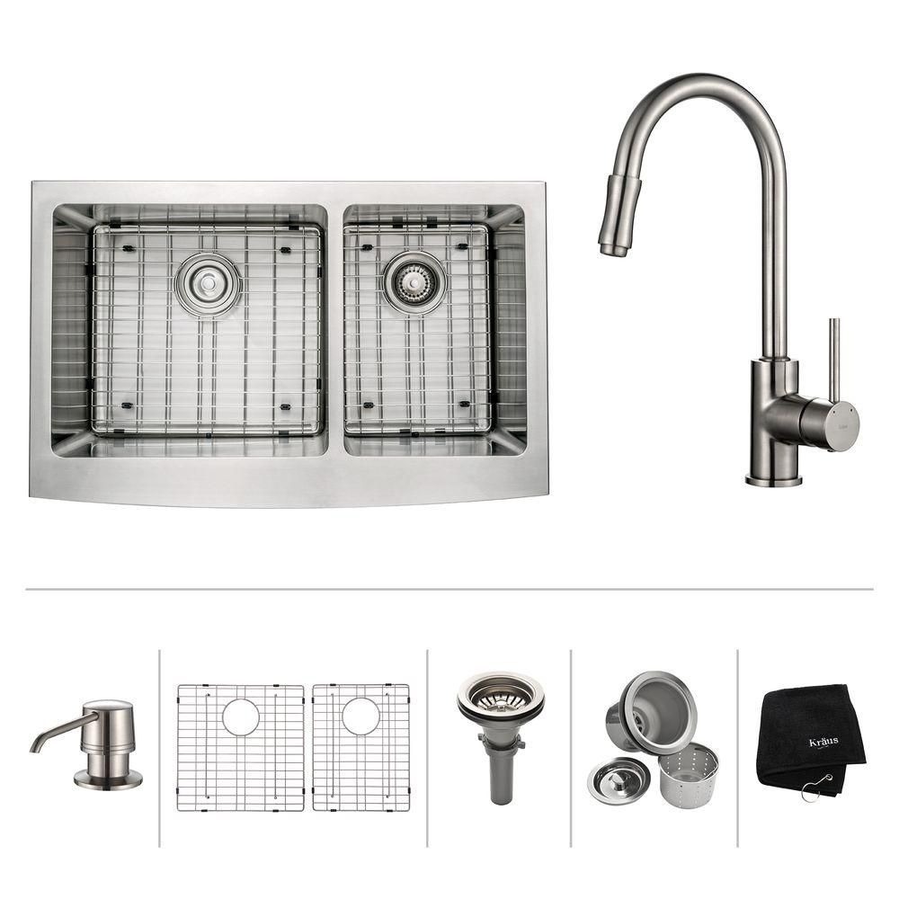 33 Inch Farmhouse Double Bowl Stainless Steel Kitchen Sink with Satin Nickel Kitchen Faucet and S...