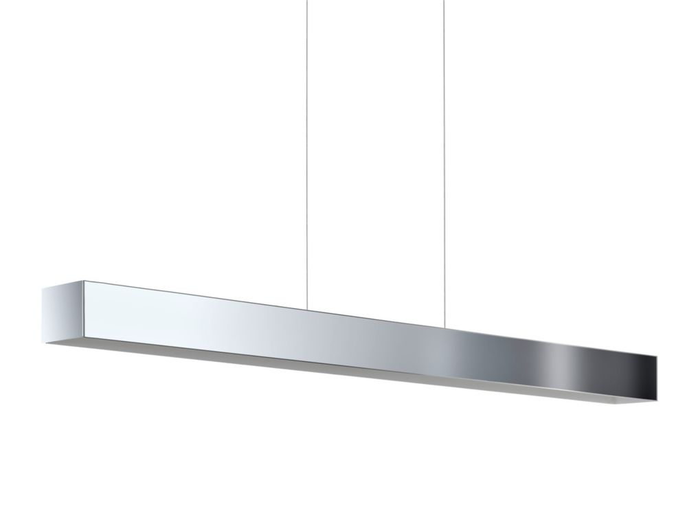 Collada Linear LED Pendant, Chrome Finish With A White Interior