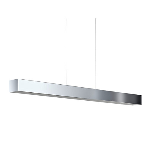 Collada Linear Integrated LED Chrome Pendant Light Fixture with White Interior