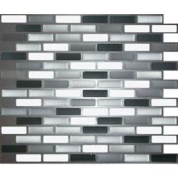 Stick-It Tiles Shiny Greys Oblong Peel and Stick-It Tile 11X9.25 Inch Bulk Pack (8 Tiles)