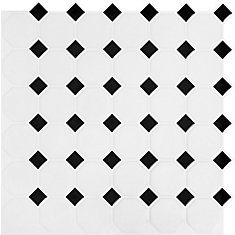 Black and White Octo Peel and Stick-It Tile 10.5 Inch x 10.5 Inch Bulk Pack (8 Tiles)