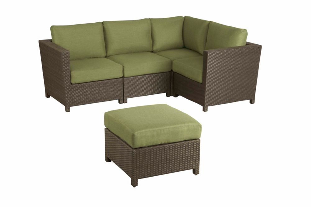 Hampton Bay Delaronde 5 Piece Outdoor Sectional Set The Home Depot Canada