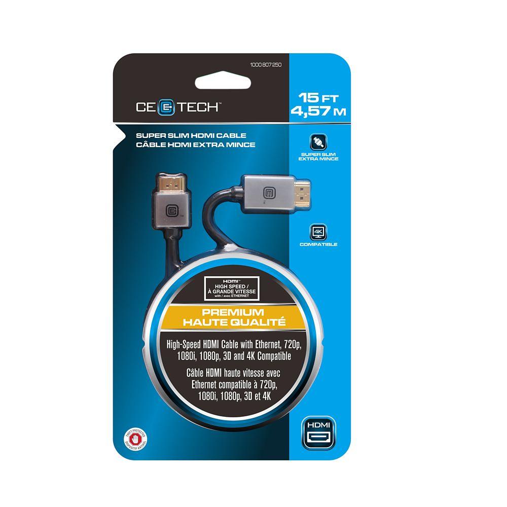 15FT mince câble HDMI haute vitesse avec Ethernet, 3D, 4K et retour Audio