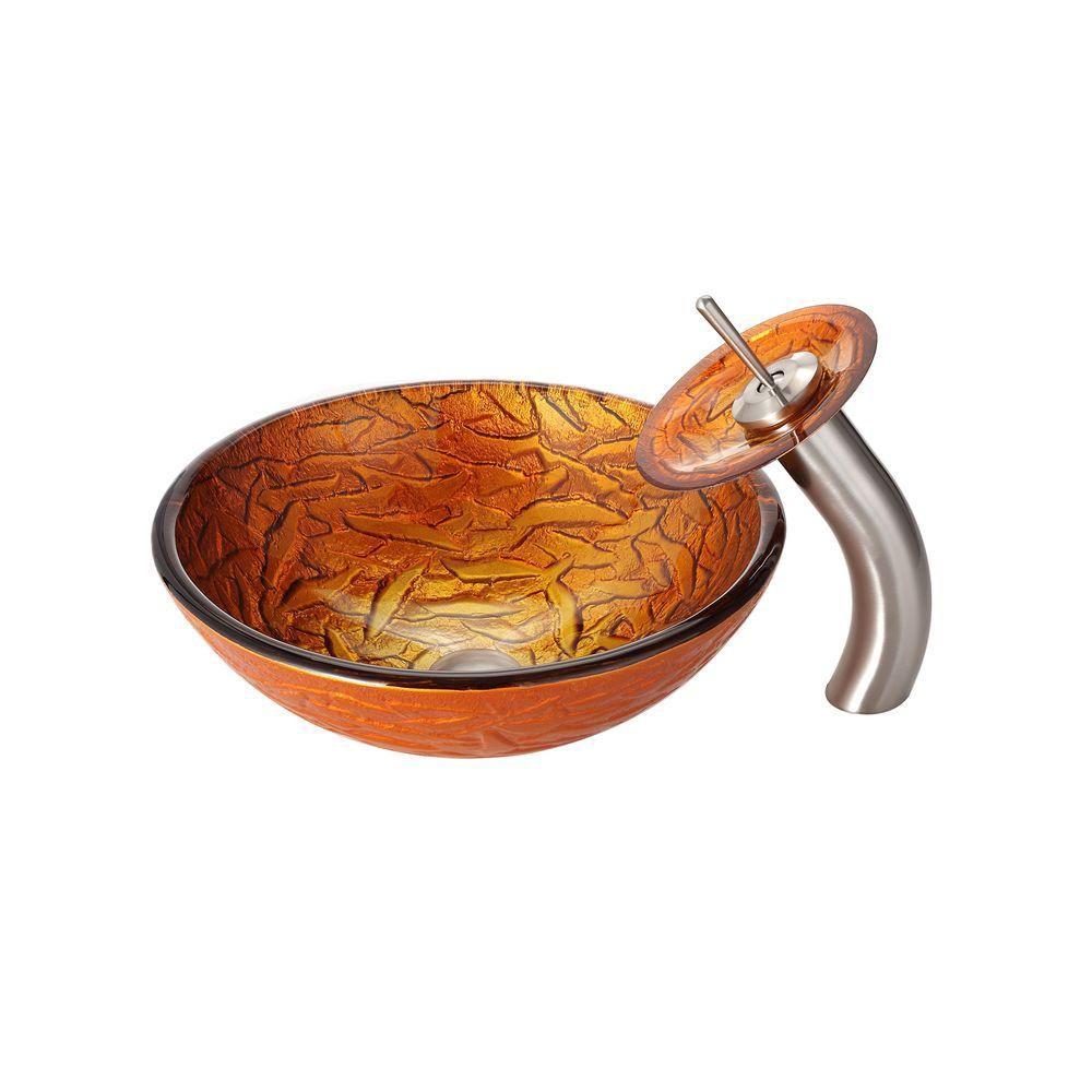Lavabo-vasque en verre Blaze et robinet à cascade, nickel satiné