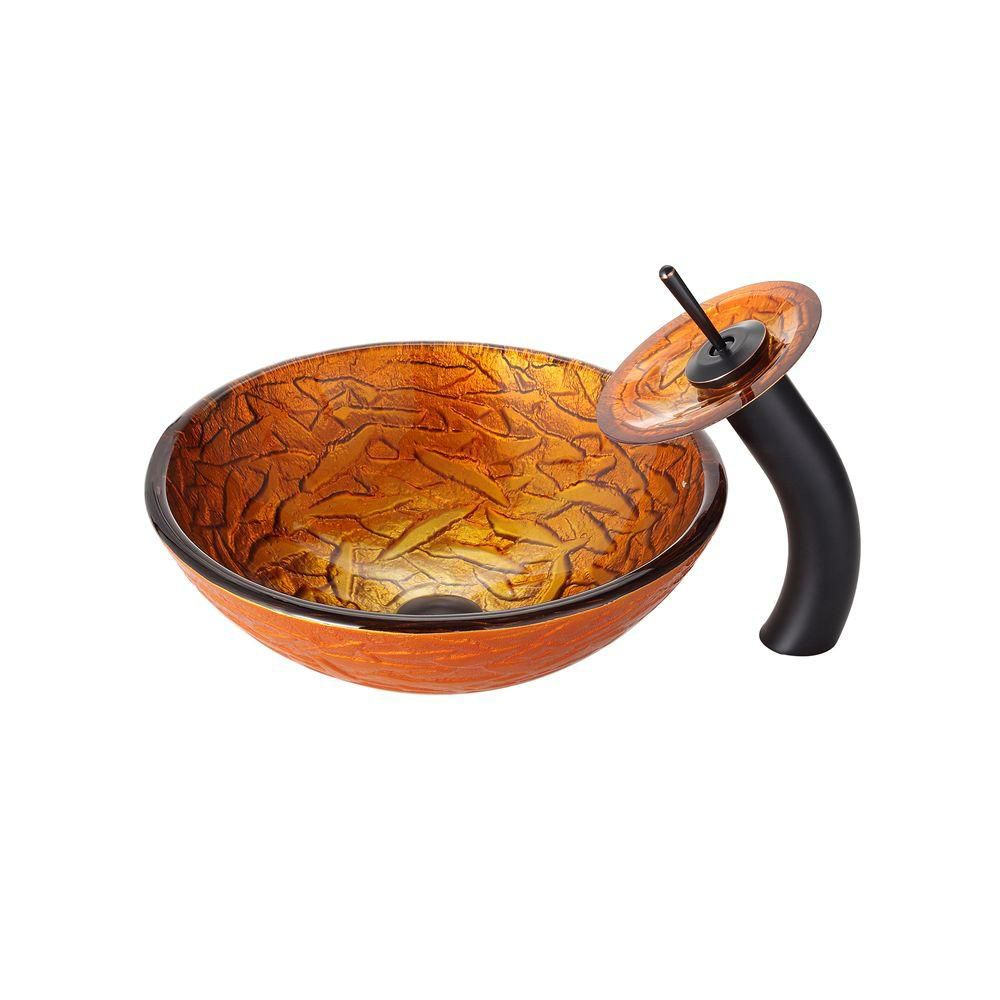 Blaze Glass Vessel Sink with Waterfall Faucet in Oil-Rubbed Bronze